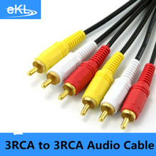 3 RCA Male to 3 RCA Male Composite Audio Video AV Cable Plug 3X RCA Retail & Wholesale 1.5M 3M 5M 10M 15M 20M Yellow/Red/White(China)