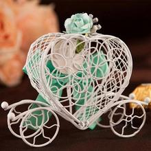 1 PC New Luxe White Bird Cage Wedding Party Gift Box Favor Metal Candy Chocolate Candy Birthday Party Carriage Flower Decor