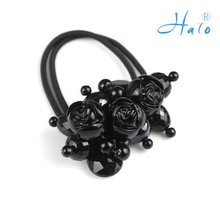 Free Shipping 12pcs/lot Handmade Ponytail Holder Flower Goody Hair Accessories HP0013(China)