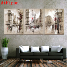 AtFipan 3 piece modern home decor wall pictures oil modular painting paintings art on flower canvas print bilder abstract(China)
