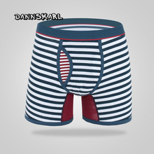 M-6XL fashion men's Stripe boxers Sexy Cotton Lengthen Straight Angle Pants FRONT OPENING Design Underpant(China)