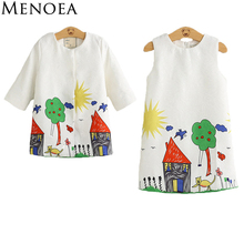 Menoea 2017 Brand Spring Girls Clothing Sets Girls Clothes Graffiti Printing Girls Outerwear+Girls Dress for Children 3-8Y