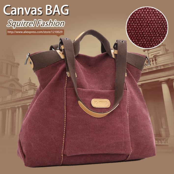Squirrel fashion high quality vintage big capacity canvas versatile tote pattern casual handbags vogue womens shoulder bag<br><br>Aliexpress