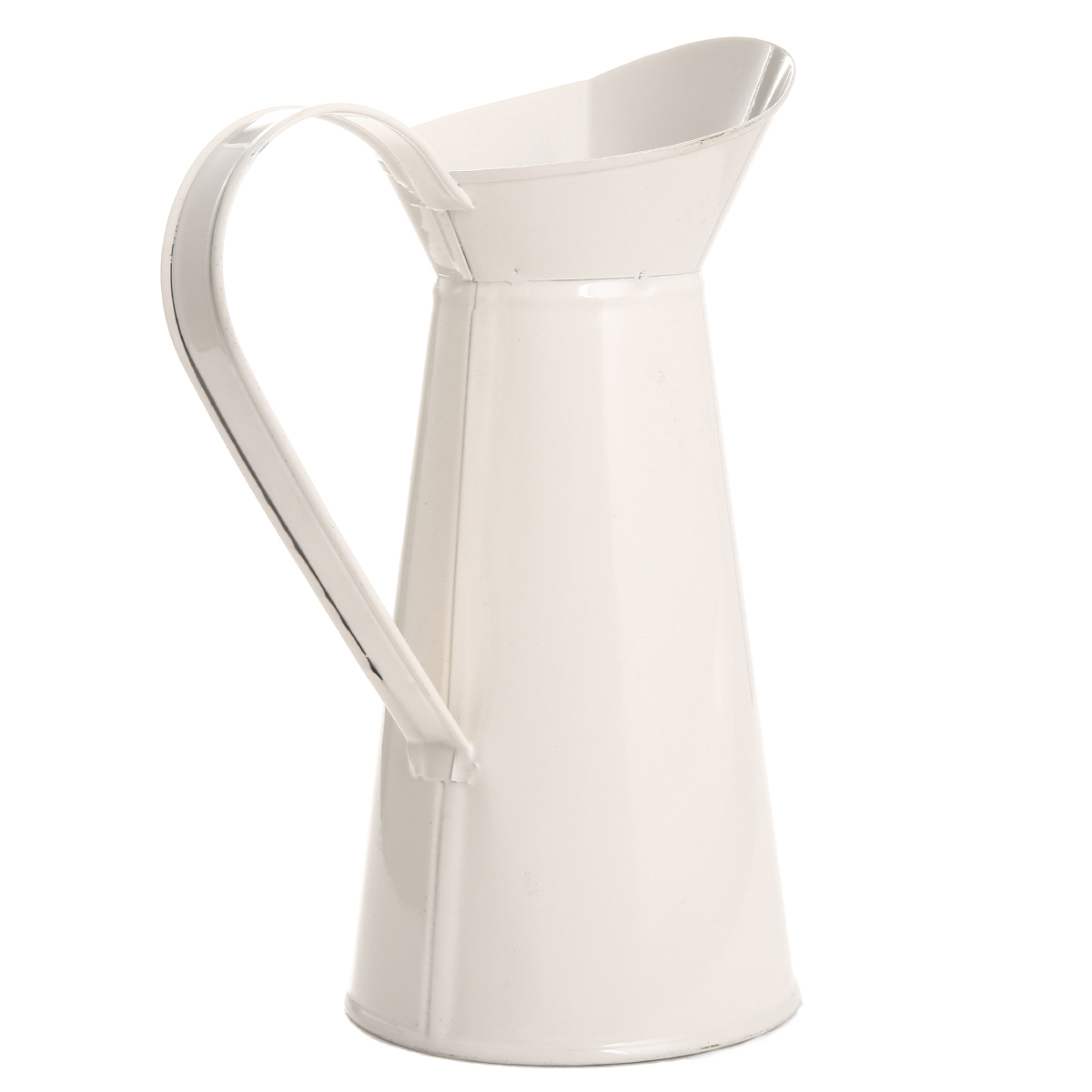 1PC Vintage Tall Metal Shabby Chic Cream Vase Enamel Pitcher Jug Flower Container For Wedding Home Decor
