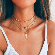 Fashion Multi-element Trend Multi - Layer Clavicle Chain Crystal Pineapple Pendant Necklace For Women Girl Gift Bohemian Jewelry