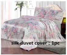 Silk Duvet Cover 1pc 100% Mulberry Silk Printed Floral Silk Multicolor Twin Full Queen King Cal.King other size ls170902(China)