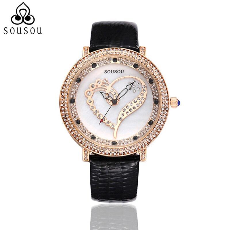 High Fashion Heart Shape Designer Quartz Watch Womens Watches Luxury Ladies Wrist Watch SouSou Brand<br><br>Aliexpress