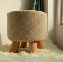 Wooden Ottoman Stool Round Fabric Sofa Stool Footstool Detachable Fabric Pouf Chair Modern Wood Stool
