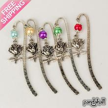 Tibetan Style Bookmarks/Hairpins for Valentine's Day, with Glass Pearl Beads, Rose, Mixed Color, 84mm