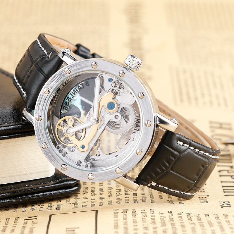 Mens Watches Top Brand Luxury Automatic Auto Watch Man Dress Analog Classic Skeleton Wristwatch erkek kol saati reloj hombre<br>