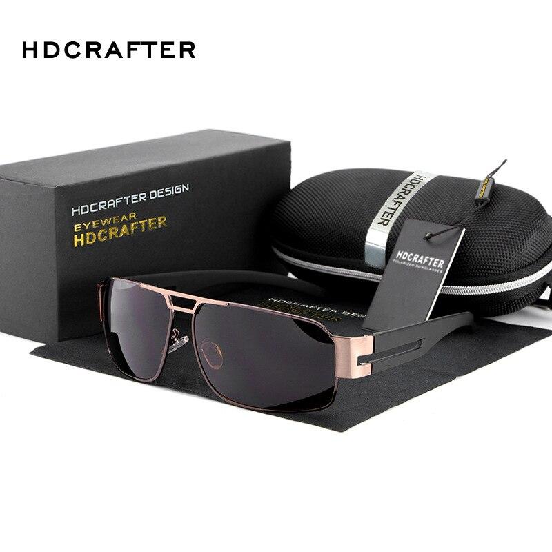 New 2017 HDCRAFTER Fashion Classic Vintage Alloy Square Driver Outdoor Aviator UV400 Sunglasses Man Brand Designer E006<br><br>Aliexpress