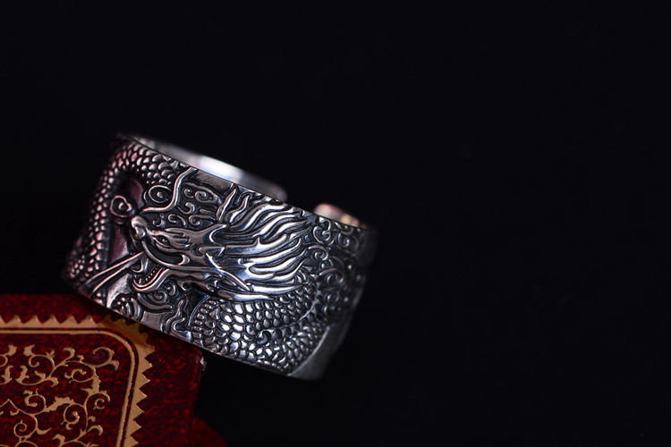 Amazing Real 999 Pure Silver Biker Rings With Flying Dragon