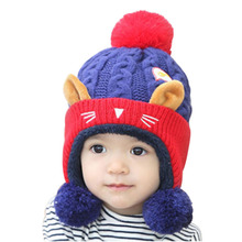 Winter New Knitted Cartoon Monkey Children's Hats Plus Plush Line Warm A Cap Lovely Pompom Plus Cotton Beanie Mask Of The Skull(China)
