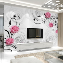 Customized 3D Flower Photo Wallpaper Living Room Bedroom Sofa TV Background Wallpaper Rose Flowers Wall Mural Wallpaper Roll(China)