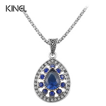 Hot 2015 Fashion Vintage Blue Necklace For Women Tibetan Silver Alloy Water Drop Pendant Wedding Necklace Cheap Sale Jewelry(China)