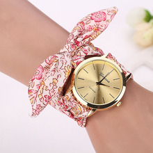 Newly Design Watch Women Girls Floral Jacquard Cloth Quartz Dial Saat Bracelet Wristwatch Women Bracelet Watch Relogio Feminino