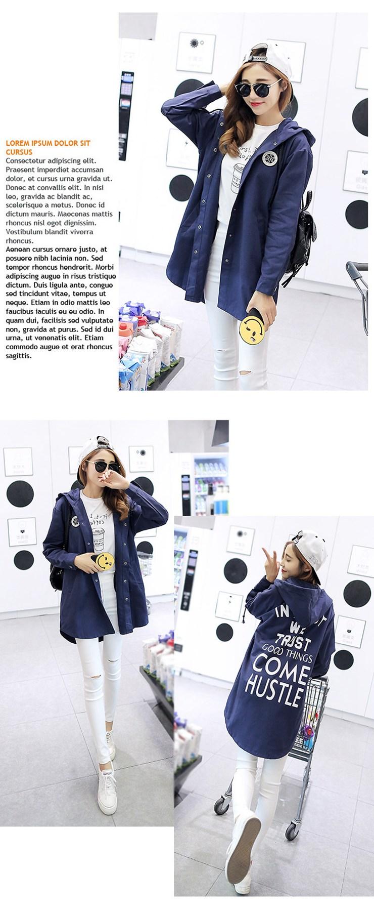 Jackets Women 2019 New Winter Fall Women\`s Basic Jacket Letter Print Coats Outwear Windbreaker Jacket Hooded Chaquetas Mujer (8)
