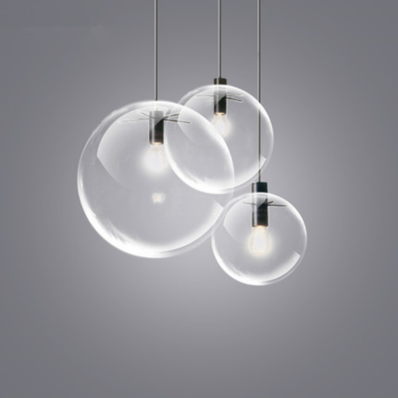 Vintage Nordic Brief Handmade Clear Bubble Glass Ball Led E27 Pendant Light For Dining Room Living Room Bar Deco 1959<br>