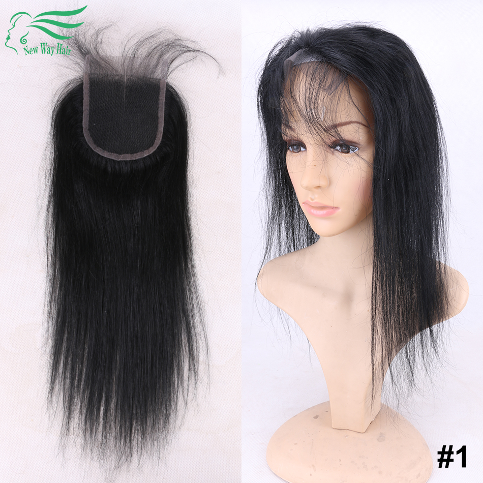 11 11 Hot Saling 100% Virgin Brazilian Human Hair Jet Black 1# Silky Straight Lace Closures With Dark Brown Lace For Black Women<br><br>Aliexpress