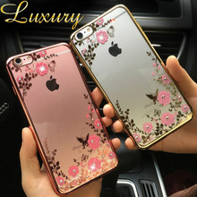5 5S SE Case Jiban Brand Luxury Flower Phone Cases for iPhone 5 5S SE 6 6S Plus Glitter Soft Back Protective Coque for iPhone 5