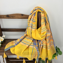 Ethnic Style Colorful Plaid Embroidery Women Cotton Scarf Wrap Autumn Hot Sale Bohemia Striped Long Pashmina Shawl with Tassels(China)