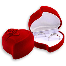 Free EMS 100pcs Red Velvet Double- Ring Packaging Box Couple Ring Holder  Heart Jewelry Box Rose Earring Boxes Gift Cases