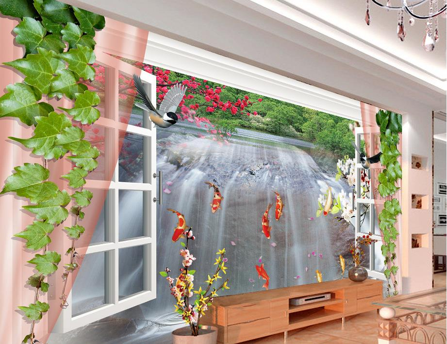customized 3d wall murals wallpaper 3D stereoscopic windows making money flowing backdrop decorative painting<br><br>Aliexpress