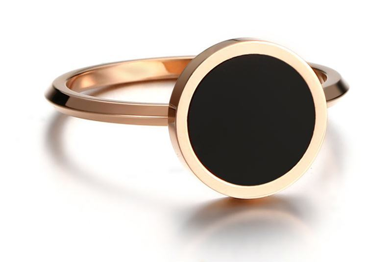 Meaeguet Rose Gold Color Women's Simple Rings Stainless Steel Black Stone Finger Ring Fashion Cocktail Jewelry (12)