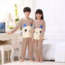 Spring&autumn New Kids long sleeved Pajamas Sets Girls Pajama boys Sleepwear children Home Clothing Cartoon Baby nightgown 3-13T