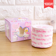 100pcs/box Hello Kitty Japan non-woven cloth wash towel roll up remover cotton cleansing face disposable towel one time use