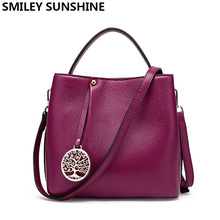 SMILEY SUNSHINE genuine leather bags female small messenger crossbody bags 2017 fashion women leather handbags ladies luxury bag(China)
