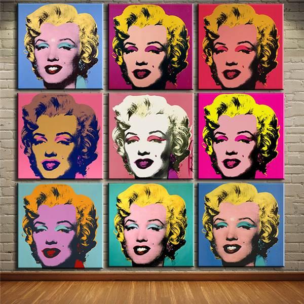Andy Warhol 9 unids Marilyn Monroe arte de la pared pintura al óleo ...