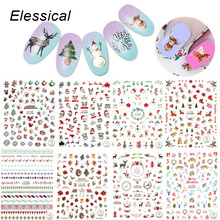 ELESSICAL 1 Pcs Colorful Christmas Theme Nail Art Stickers Design Gel Polish Decorations Nail Decals For Manicure WY1127-WY1135