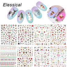 ELESSICAL 1 Pcs Colorful Christmas Theme Nail Art Stickers Design Gel Polish Decorations Nail Decals For Manicure WY1127-WY1135(China)