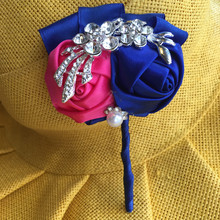 5Pcs/lot Man&Women Royal Blue Crystal Groom Boutonniere Satin Rose Buttonhole Wedding Party Prom Man Suit Pin Brooch XH0688-2(China)