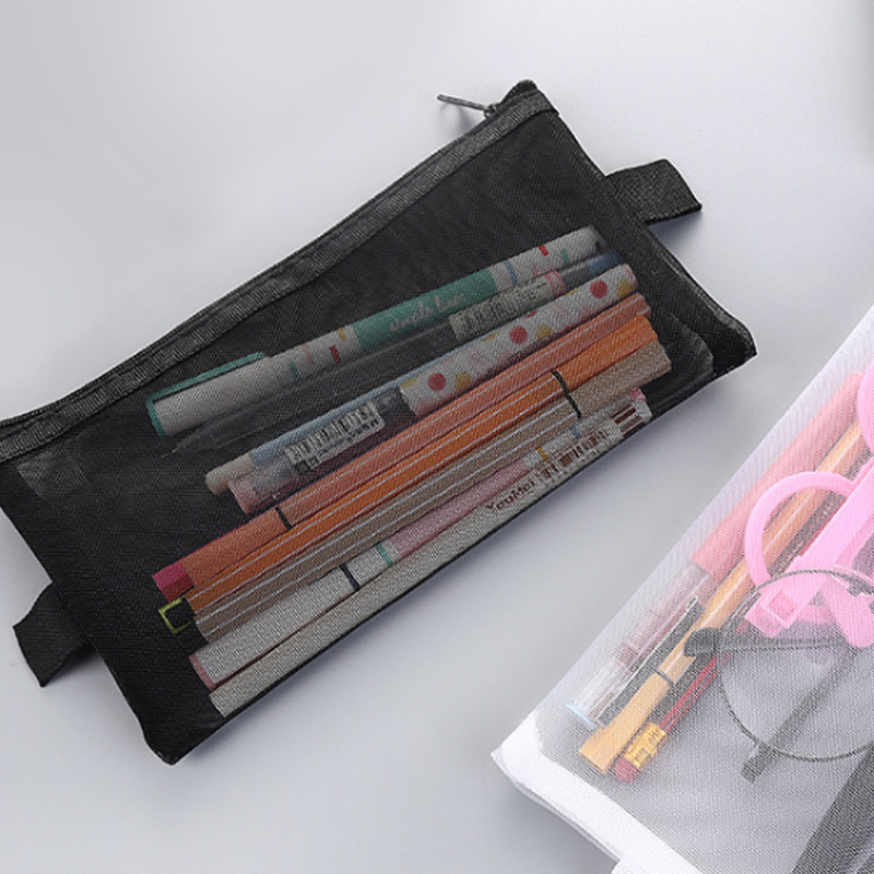 1 Pcs Creative Simplicity Solid Color Black White Gray Zipper Transparent Mesh Pencil Case Student School Supplies Stationery