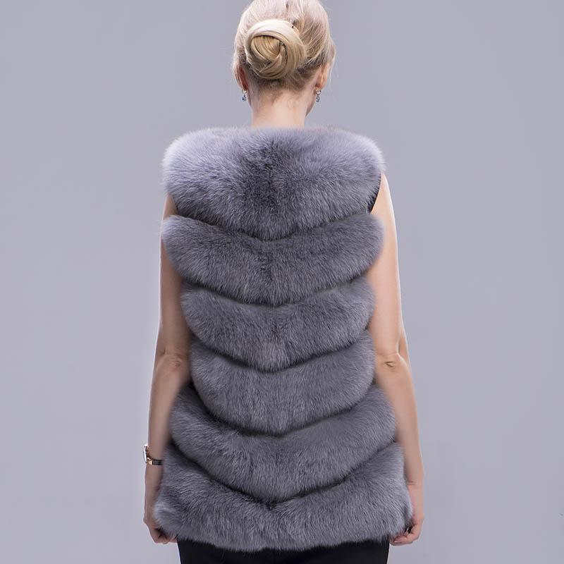 fox fur vest 6 lines grey