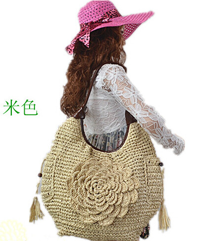 2017 paper rope hand woven flower  beach bag large capacity straw bag<br><br>Aliexpress