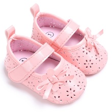 2017 Summer Baby Girl Shoes Cute Lace Bowknot Princess First Walkers Enfant PU Leather Shoes Black/White/Pink/Blue