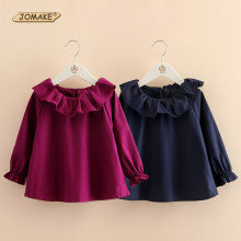 JOMAKE Brand Cute Kids Blouse 2T~10T Cotton Ruffle Collar Girls Shirts Solid Long Sleeve Autumn Spring Newest Children Clothing