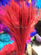 Top quality Dyed peacock feather! Wholesale 300pcs/lot, length 25-30cm red peacock feathers wedding decor tions