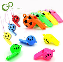 5pcs/lot Soccer football or smiling face whistle cheerleading toys for kids children plastic whistles toys with ropes GYH