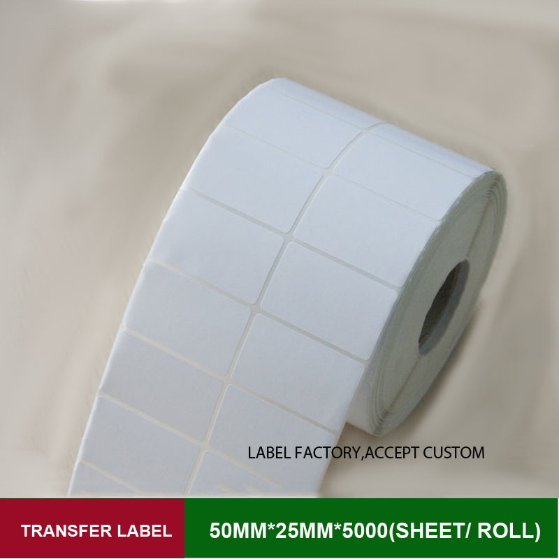 Double row 50*25mm transfer sticker code labels enjoy free custom logo for mini saeling outside carton, label in clothing tag<br>