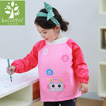 Children Long Sleeve Waterproof Coverall Baby Bibs Kids Art Apron Smock Toddler Cartoon Feeding Smock Boy Girl Burp Cloths(China)