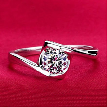 Europe and USA bezel setting zirconia AAA CZ Rhinestone Crystal titanium steel engagement rings for Women