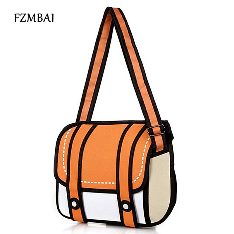 FZMBAI New Fashion 2D Bags Novelty Back To School Bag 3D Drawing Cartoon Paper Comic Handbag Women Shoulder Bag 5 Color Gift(China)