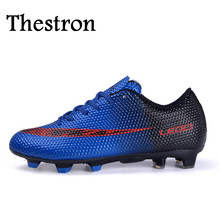 Thestron Kids Soccer Cleats Red/Blue Mens Football Trainers High Quality New Soccer Cleats Professional Football Shoes Women