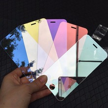 Luxury Mirror Tempered Glass Screen Protector for Apple iPhone 7 7 Plus Colorful Full Cover Film 9H Protective Guard Case