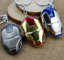 New The Avenger Marvel Super Hero Iron Man Mask Metal Action Figure Toys Keychain Pendant Keyring Doll for boys gift(China)