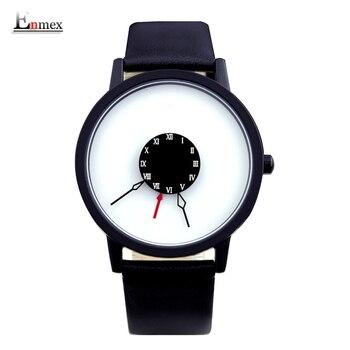 2016 homens presente enmex breve design criativo upside down projeto mão única para os jovens de forma original relógios de quartzo